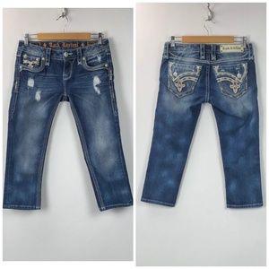 Rock Revival Medium Wash Distressed Crop Jeans
